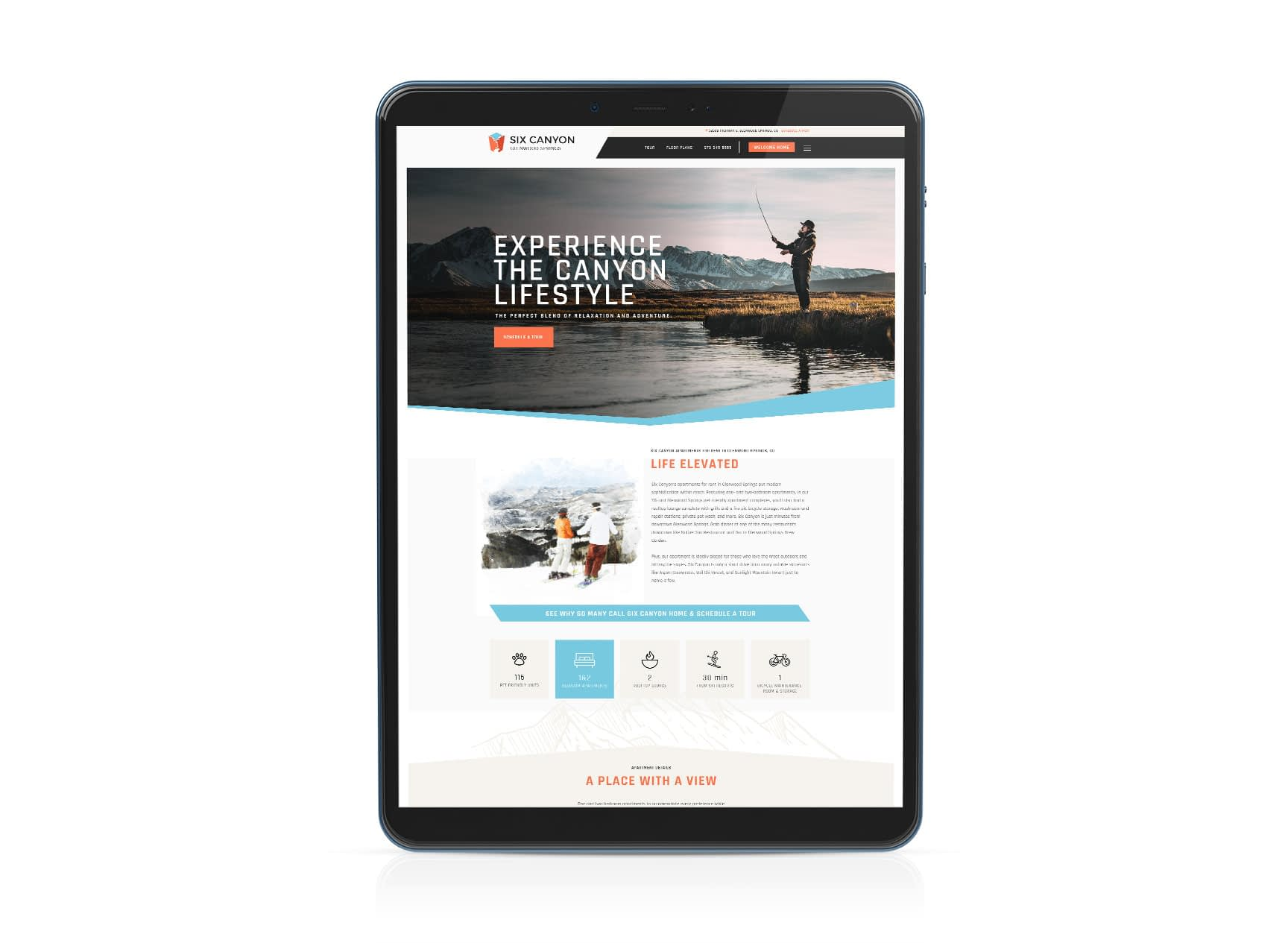 apartment website apple tablet mockup