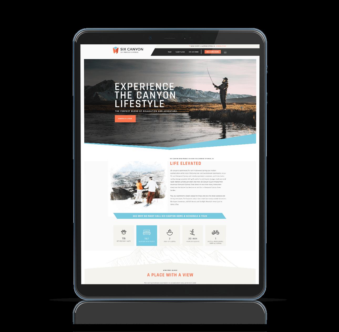 website mockup on tablet device