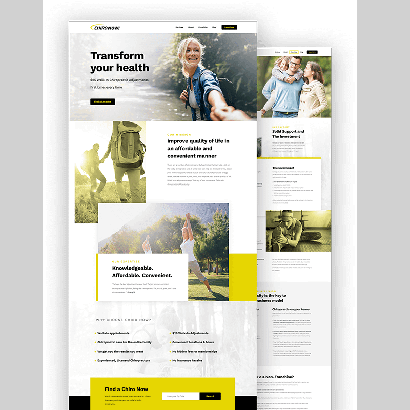 ChiroNow Web Design Layout