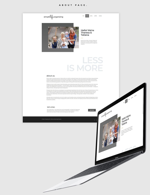 Simple Life Organizing web mockup