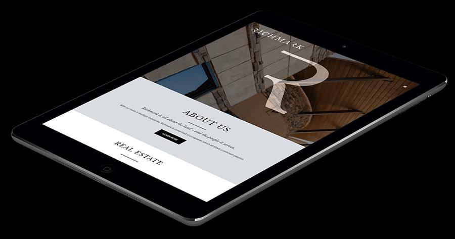 Richmark website tablet mockup