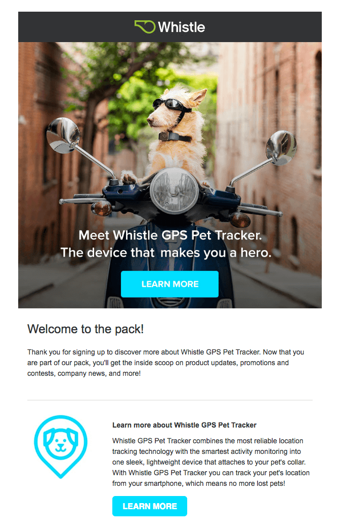 email sample - whistle GPS tracker