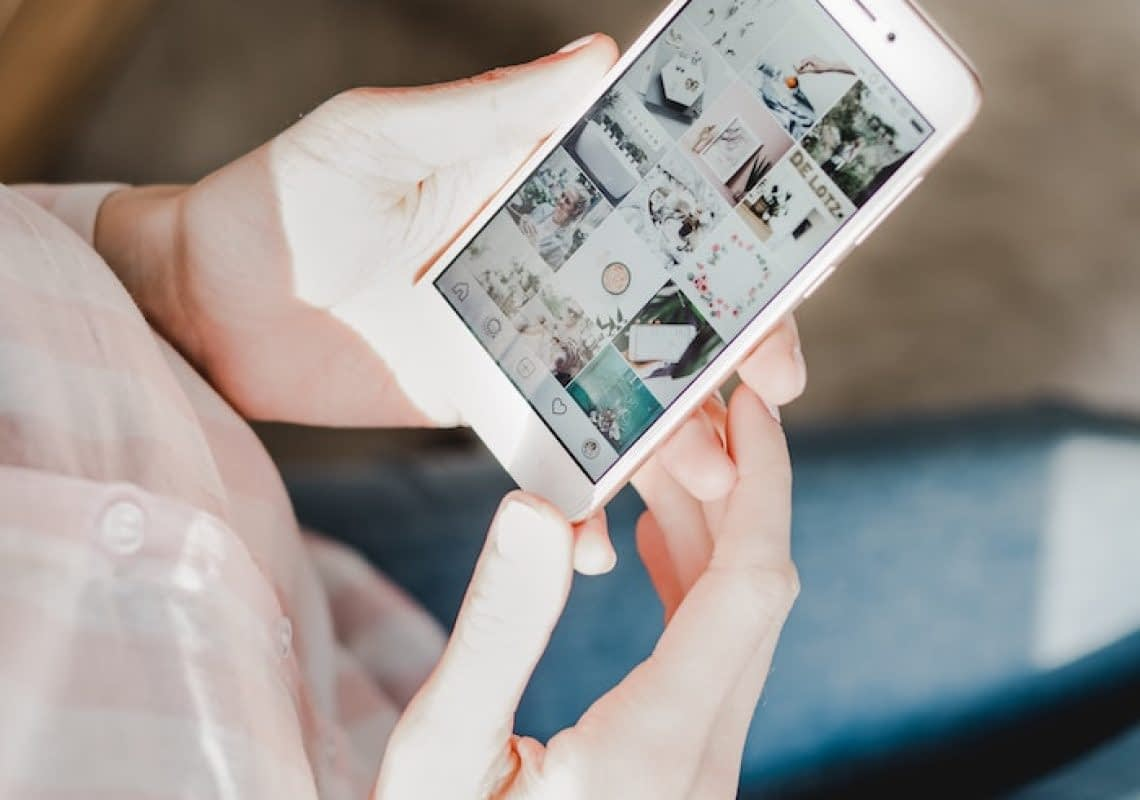 browsing social media accounts on phone
